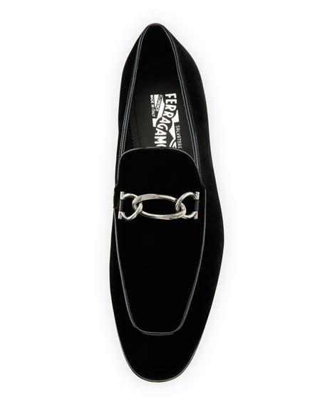 a6aa883fd3a Salvatore Ferragamo Men S Velvet   Patent Leather Apron Toe Loafers In Nero  Velvet