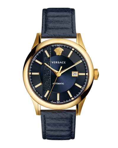 44mm Aiakos Men's Automatic Watch with Blue Leather Strap