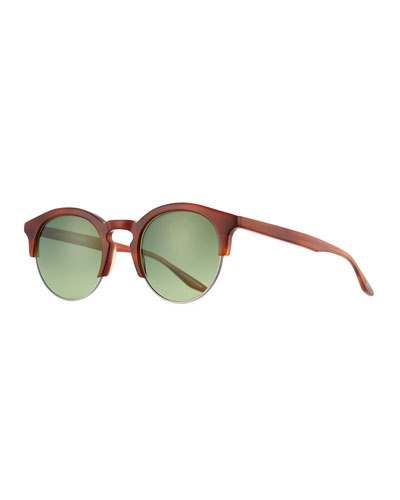 Griffin Half-Rim Round Sunglasses, Tortoise Pewter Emerald