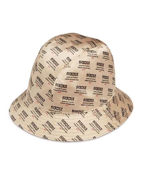 Gucci Donna Logo-Print Silk Bucket Hat 2f93e3b0a63