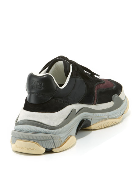 e96af5df398d5 Balenciaga Men's Triple S Mesh & Leather Sneakers, Dark Red