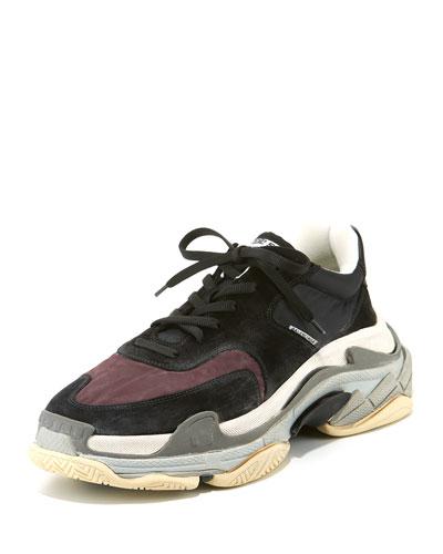 Men's Triple S Mesh & Leather Sneaker, Dark Red
