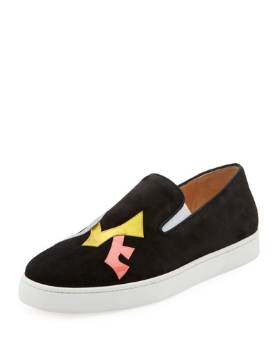 Men's Love Appliqué Suede Slip-On Sneakers