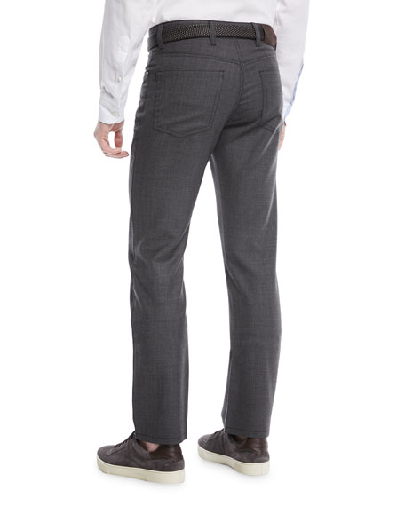 Textured Wool-Blend 5-Pocket Pants