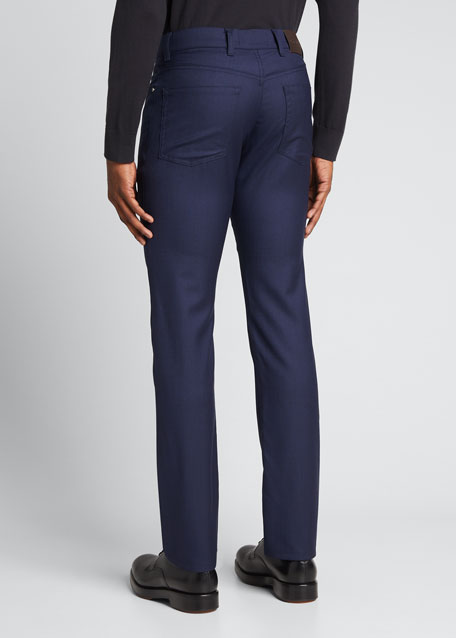 5-Pocket Straight-Leg Wool Pants