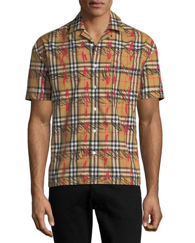 Men's Harley Scribble Check Short-Sleeve Sport Shirt