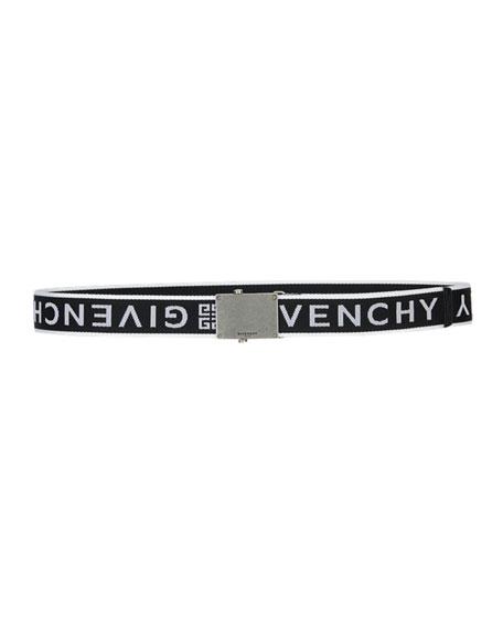 Givenchy Men's Logo Webbed Plate Belt