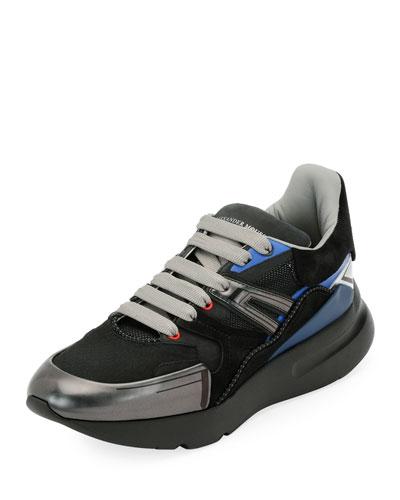 Men's Oversized Colorblock Runner Sneakers, Black Pattern