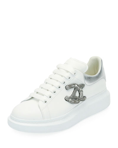 Men's Crest Patch Leather Low-Top Sneakers