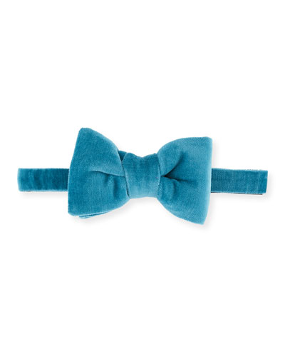 Velvet Bow Tie, Medium Blue