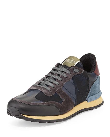 Valentino Men's Rockrunner Camo-Print Sneakers, Blue