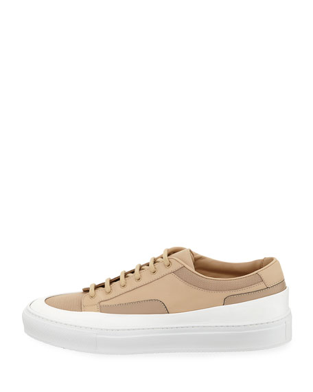Men's Achilles Super Platform Leather Low-Top Sneakers, Beige