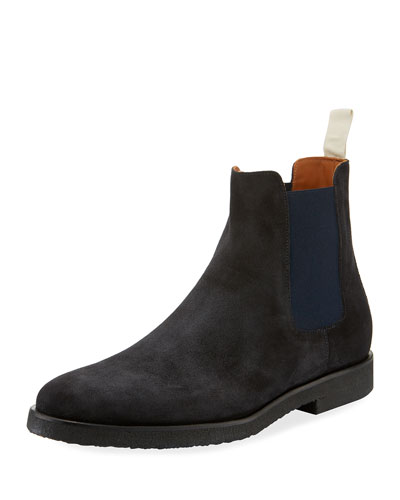 Men's Calf Suede Chelsea Boots, Navy