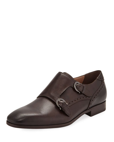 Men's Blair Gancini-Buckle Leather Double-Monk Shoe
