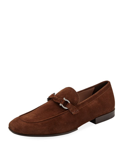 Men's Barry Suede Rubber-Sole Gancini Loafer, Brown