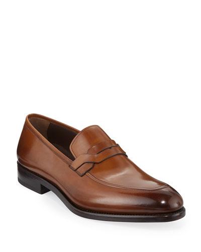 Men's Backer Braided Burnished Leather Loafer