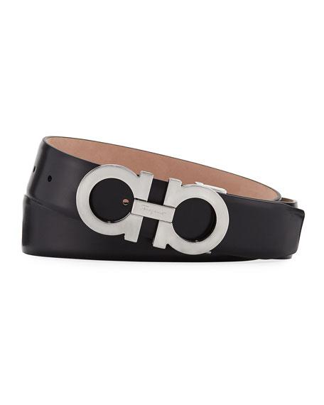Salvatore Ferragamo Men's Panini Leather Gancini-Buckle Belt,