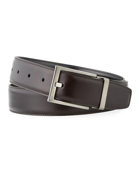 Salvatore Ferragamo Men's Square-Buckle Reversible Leather Belt