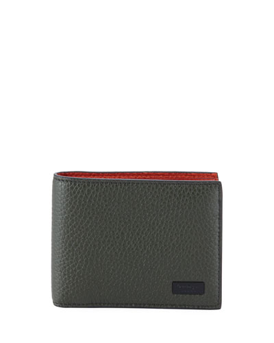 Men's Firenze Contrast-Lined Leather Bi-Fold Wallet