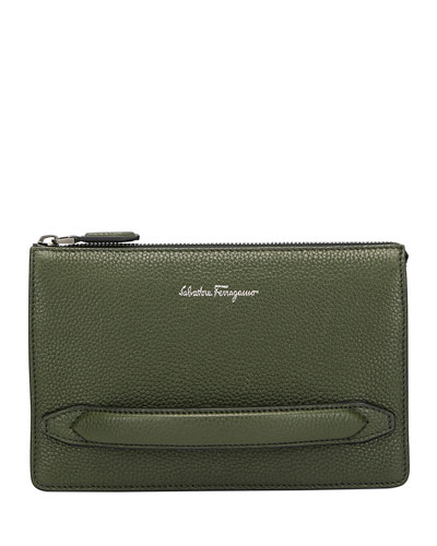 Men's Firenze Leather Pouch with Handle  Green