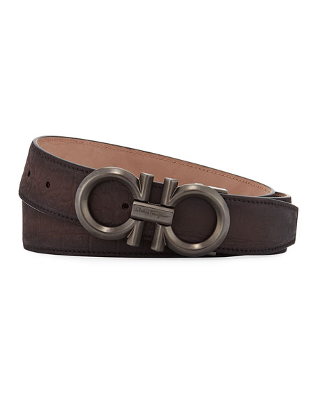 Salvatore Ferragamo Men's Stamped Leather Gancini Buckle Belt