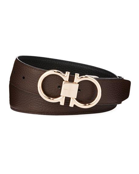 3e05cb9b4b8 Salvatore Ferragamo Men s Reversible Leather Belt with Rose-Tone Gancini  Buckle