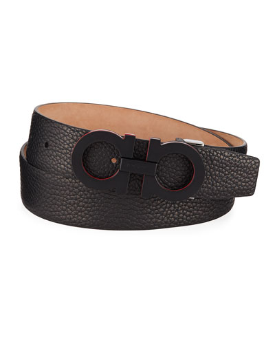 Men's Textured Leather Gancini Belt