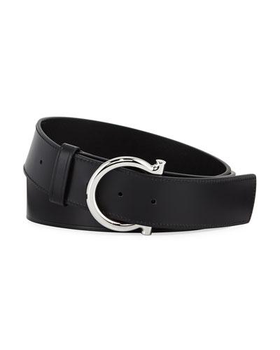 Men's Casual Leather Gancio-Buckle Belt
