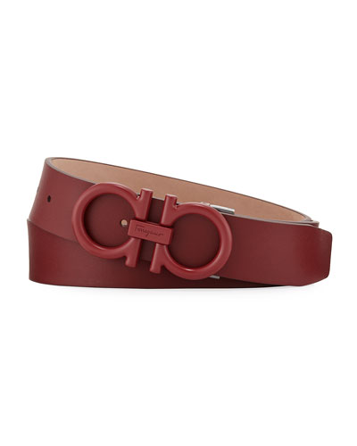 Men's Matte-Gancini Leather Belt, Red