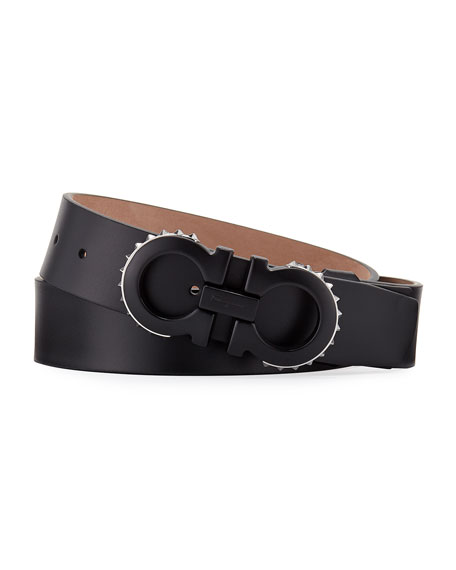 Salvatore Ferragamo Men's Spiked Matte-Gancini Leather Belt,
