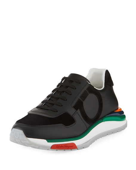 Salvatore Ferragamo Men's Brooklyn Sneakers w/ Rainbow Sole