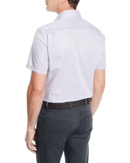 Men's Woven Micro-Dot Cotton Short-Sleeve Shirt