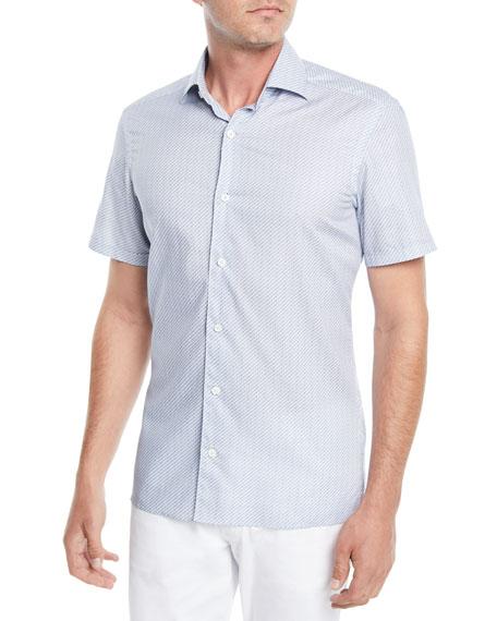 Men's Micro-Striped Short-Sleeve Sport Shirt