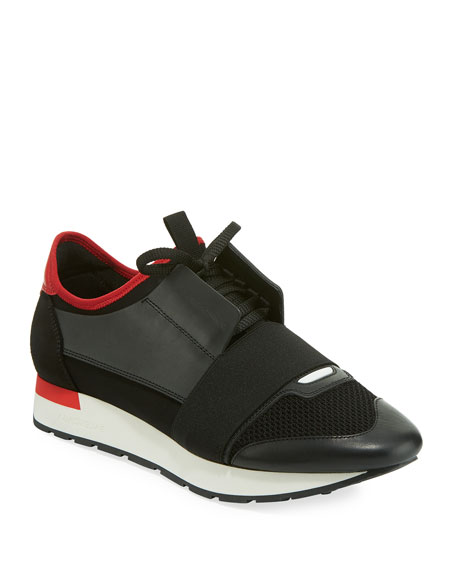 Balenciaga Mens Black And Red Striped Capsule Race Runners Leather And  Suede Sneakers 237c574a3156