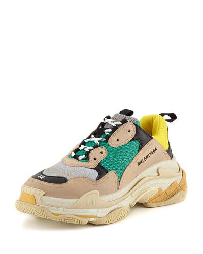Men's Triple S Mesh & Leather Sneaker, Yellow