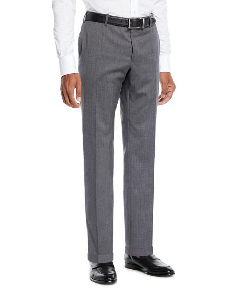 INCOTEX Men'S Sergio Wool Dress Pants in Dark Gray
