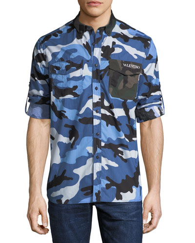 Men's Button-Down Long-Sleeve Camo Shirt