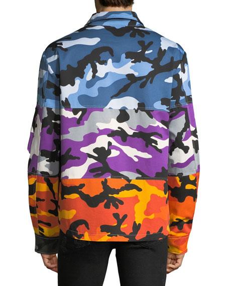 15a6bd904dbae Valentino Men's Multicolor Camouflage Shuffle Shirt Jacket