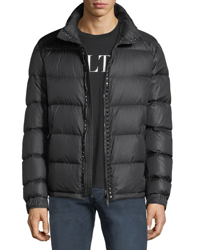 Men's Rockstud Hooded Puffer Jacket
