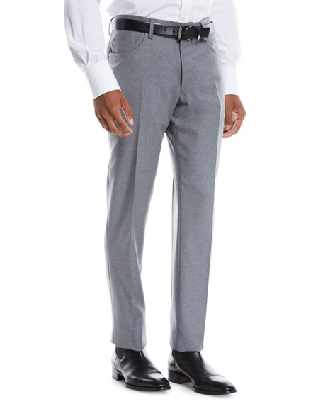 INCOTEX Men'S Moss Five-Pocket Flannel Dress Pants in Medium Gray