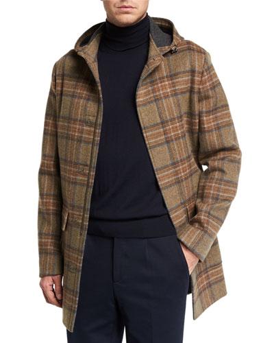Men's Warwick Cashmere Tartan Plaid Coat