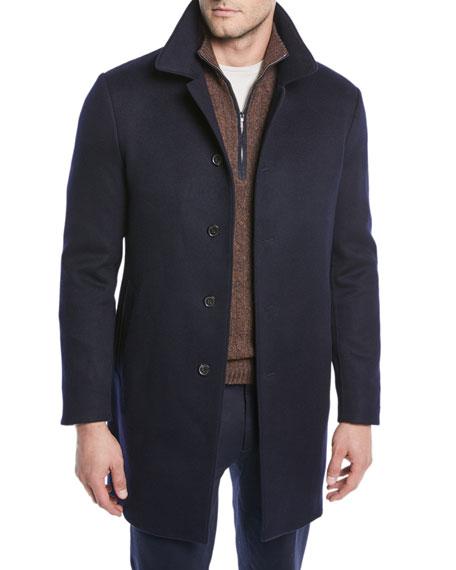 Loro Piana Men's Cashmere Shuttle Coat In Blue Navy