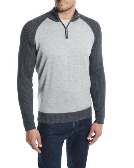 Loro Piana Men's Cashmere-cotton Half-zip Sweater In Gray