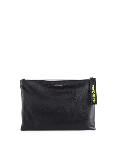 Men's Leather Pouch with Logo-Print Pull
