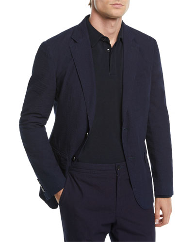 Men's Solid Seersucker Two-Button Jacket