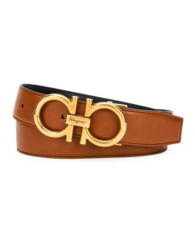 Men's Double-Gancio Reversible Leather Saddle Belt