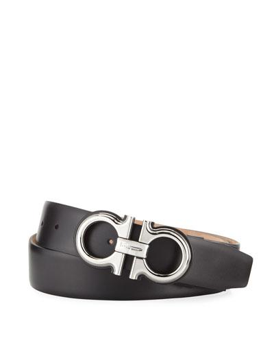 Men's Double-Gancio Leather Belt