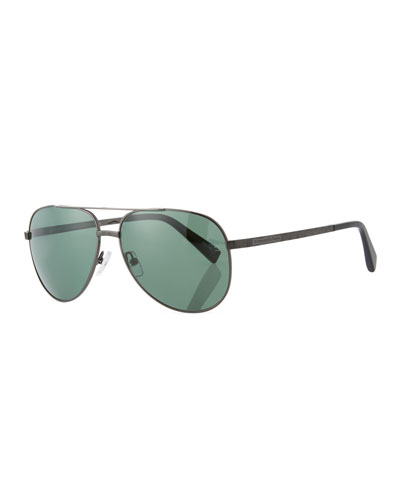 Metal Double-Bar Aviator Sunglasses