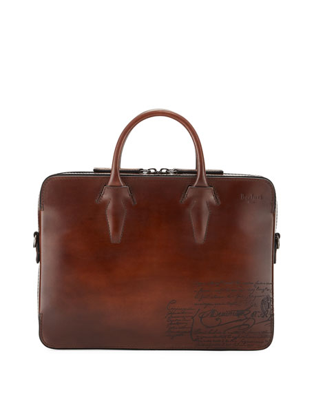 b94d8a73aaf2 Berluti Men s Profil Scritto Leather Briefcase