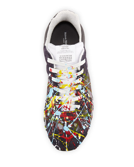81c2c77d73a Men's Replica Paint-Splatter Suede-Trim Running Sneakers